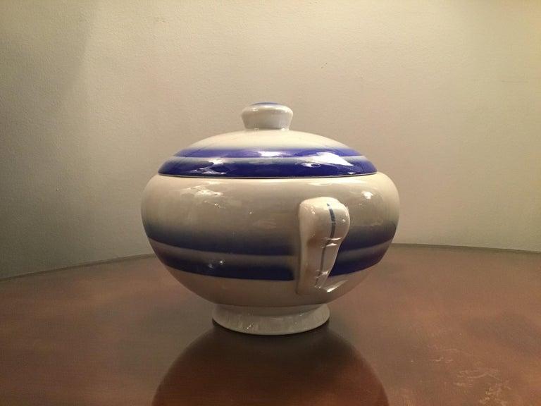 Mid-20th Century Galvani Pordenone Soup Tureen Centerpiece 1930 Ceramic, Italy For Sale
