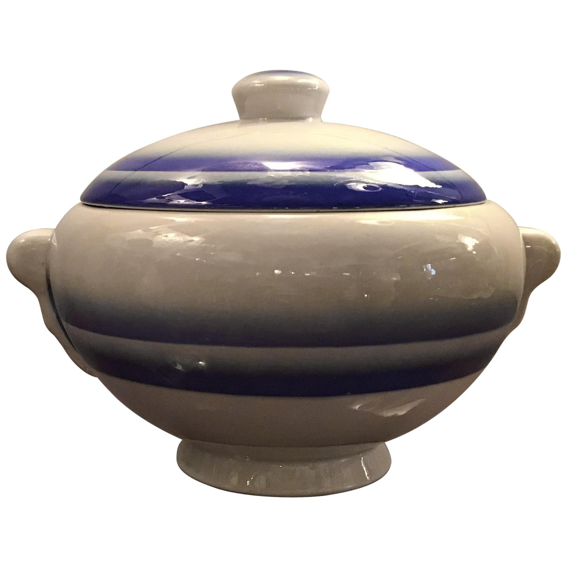 Galvani Pordenone Soup Tureen Centerpiece 1930 Ceramic, Italy