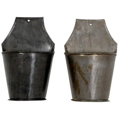 Galvanised Wall Hung Planter Display Buckets, 20th Century