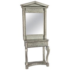 Galvanized Console Table and Mirror