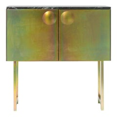"Galvanized Steel and Marble ""Bump"" Cabinet, Jan Plechac & Henry Wielgus"