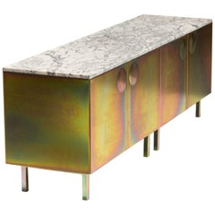 """Galvanized Steel and Marble """"Bump"""" Cabinet, Jan Plechac & Henry Wielgus"""