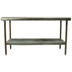Galvanized Tin and Iron Industrial Two-Tier Restaurant Console Work Table