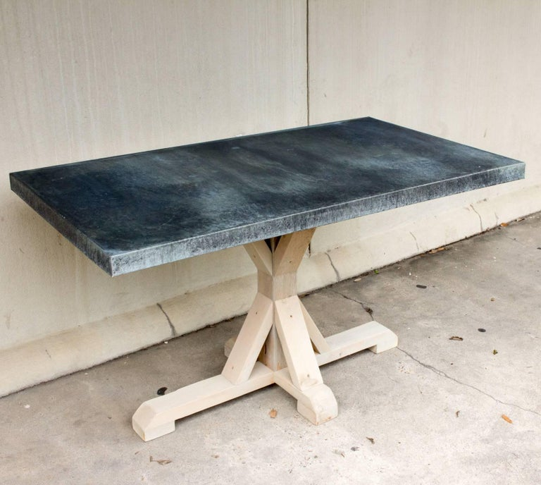 Galvanized Zinc Metal Top Dining Table with Wood Base For Sale 6
