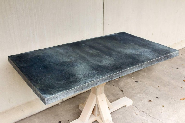 Galvanized Zinc Metal Top Dining Table With Wood Base At