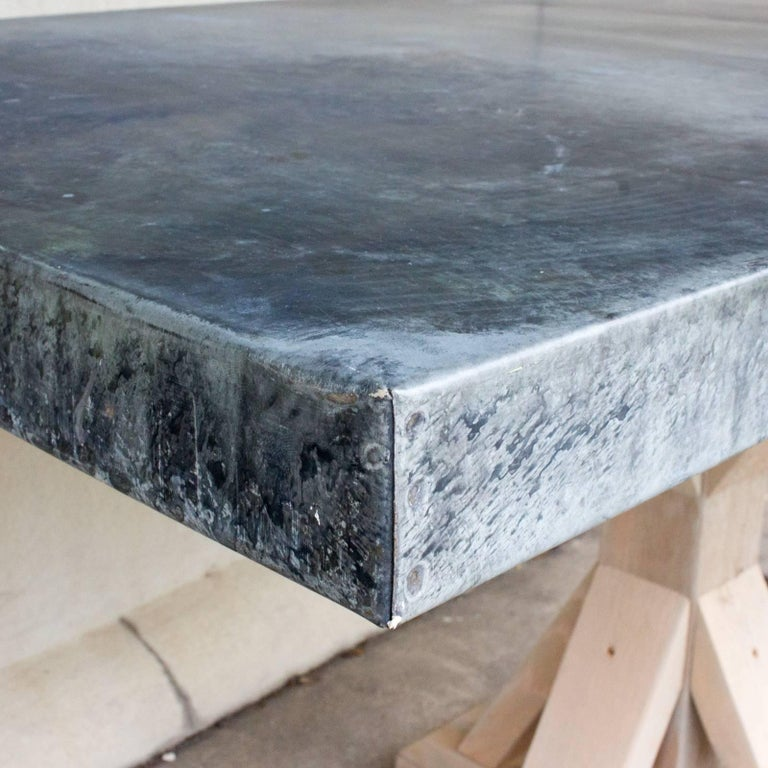 Galvanized Zinc Metal Top Dining Table with Wood Base In Excellent Condition For Sale In Houston, TX