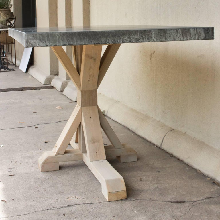Galvanized Zinc Metal Top Dining Table with Wood Base For Sale 2