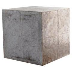Galvenized Metal Cube End Table