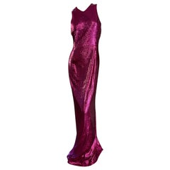 Galvan London Iridescent Red Sequin Mermaid Column Dress NEW
