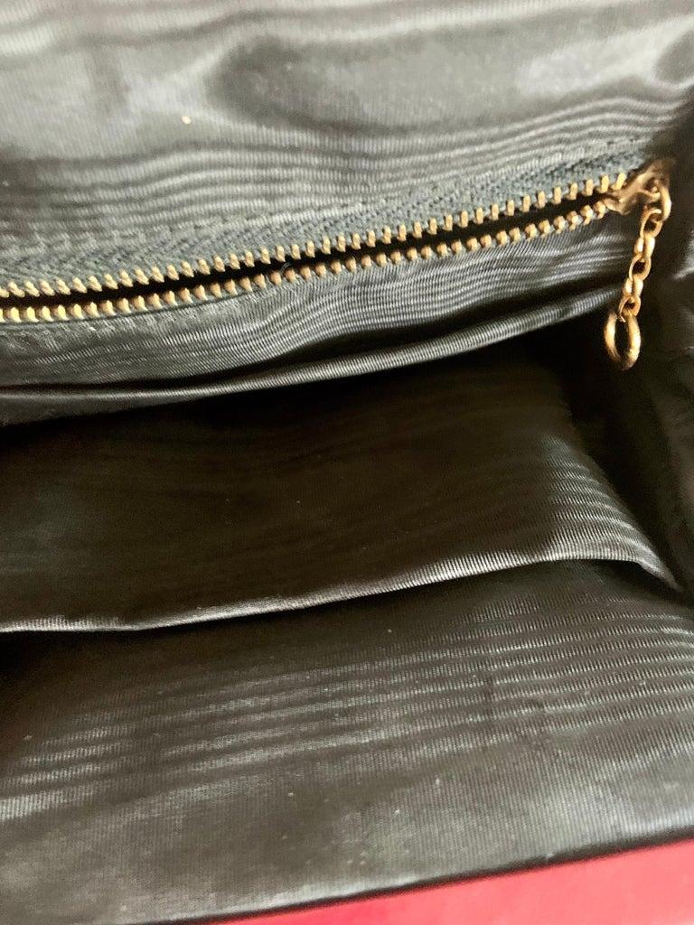 Gambling Theme Diminutive Red Needlepoint and Leather Handbag For Sale 6