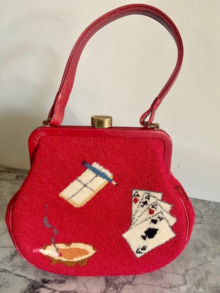 Gambling Theme Diminutive Red Needlepoint and Leather Handbag For Sale 2