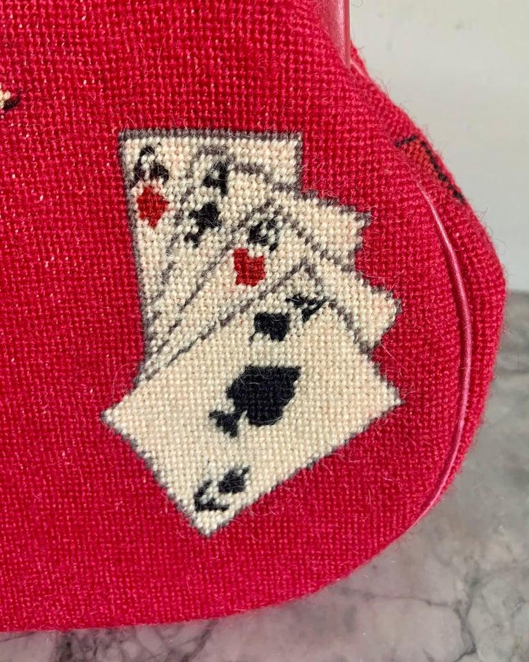 Gambling Theme Diminutive Red Needlepoint and Leather Handbag For Sale 3