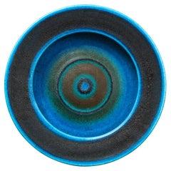 Gambone Bowl, Ceramic, Bullseye, Blue Stripes, Signed