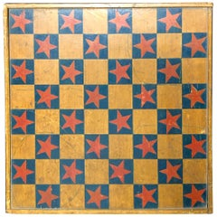 Game Board Chrome Yellow and Red Stars Signed and Dated 1889