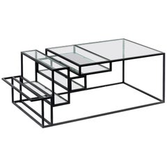Game Contemporary Coffee Table in Steel and Glass