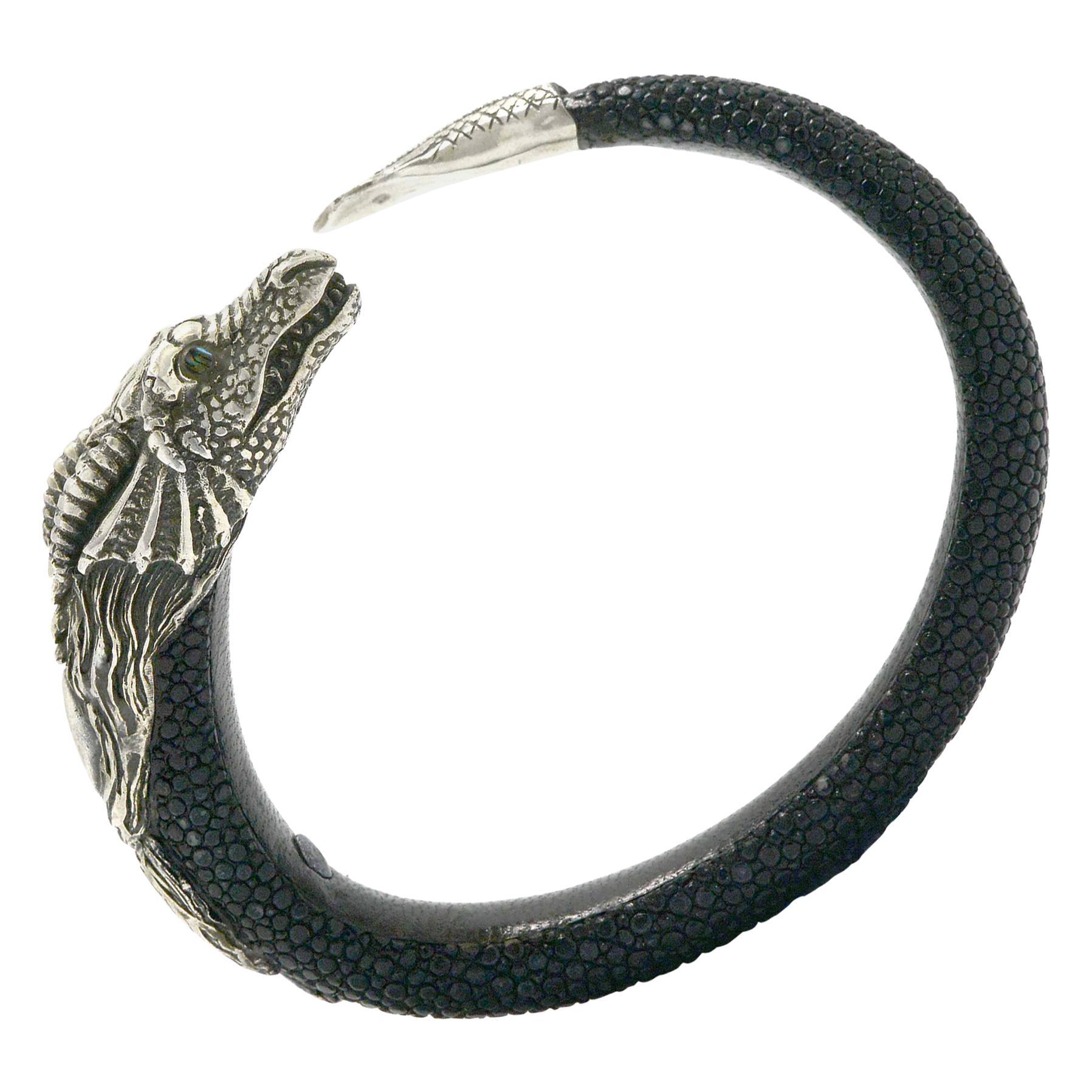 Game of Thrones Dragon Bracelet Stingray Shagreen Sterling Silver Cuff Bangle