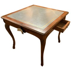 Game Table in Walnut with Teal Leather Top, Louis XV Style