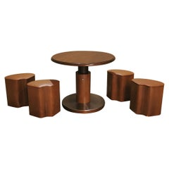 Game Table with 4 Stools in Veneered Wood Midcentury, Italy, 1970s, Set of 5