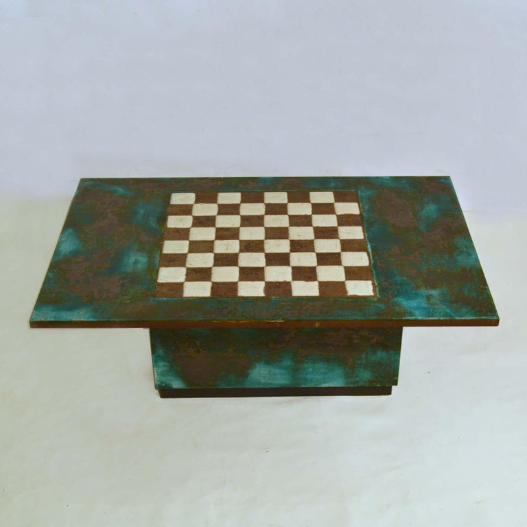 Unique 1960s hand sculpted chess table and coffee table is sculptural and yet functional, made out of large ceramic slabs. The table exudes a material richness and graphic simplicity. The black sections are not glazed and reveal the bare black