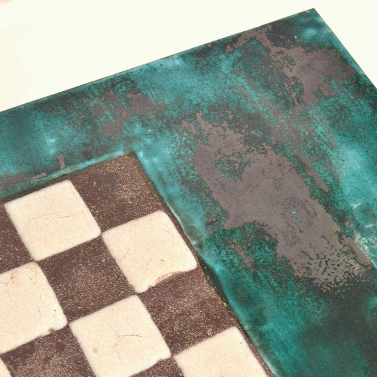 Mid-Century Modern Game Table with Chessboard Hand Sculpted in Ceramic For Sale