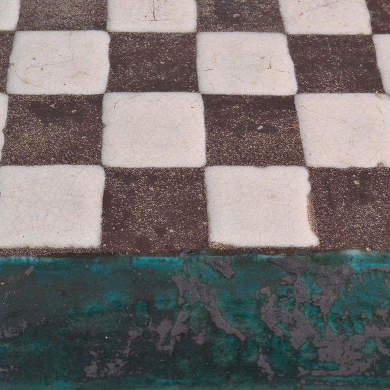 Hand-Crafted Game Table with Chessboard Hand Sculpted in Ceramic For Sale