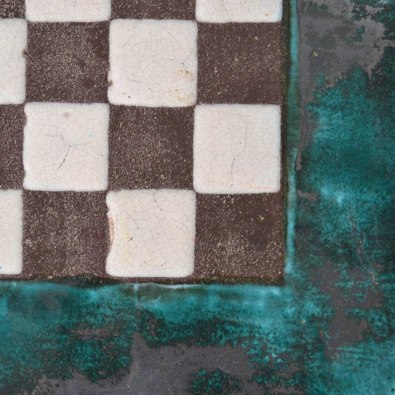 Game Table with Chessboard Hand Sculpted in Ceramic In Excellent Condition For Sale In London, GB