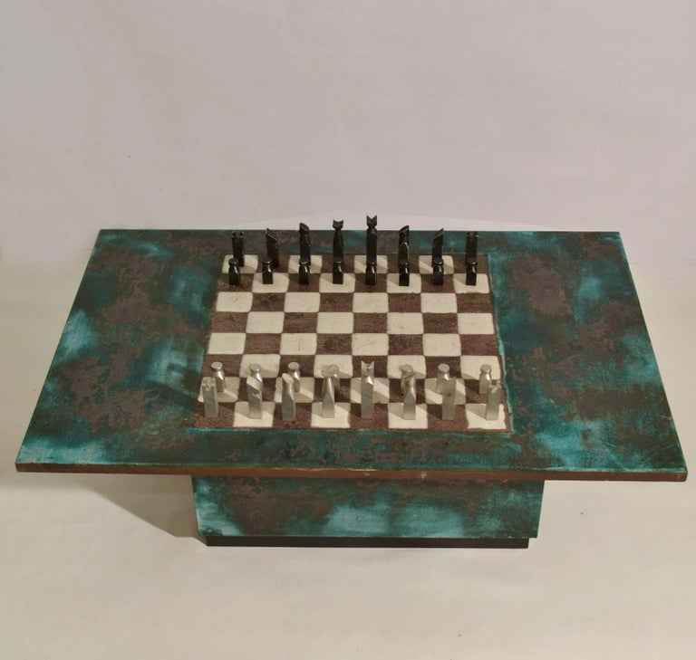 Mid-20th Century Game Table with Chessboard Hand Sculpted in Ceramic For Sale