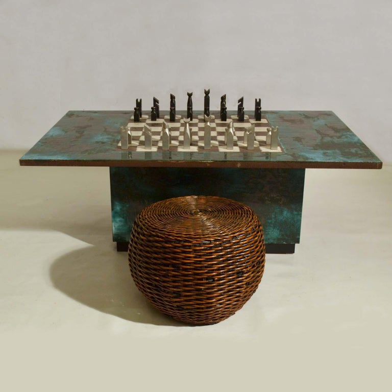 Game Table with Chessboard Hand Sculpted in Ceramic For Sale 1
