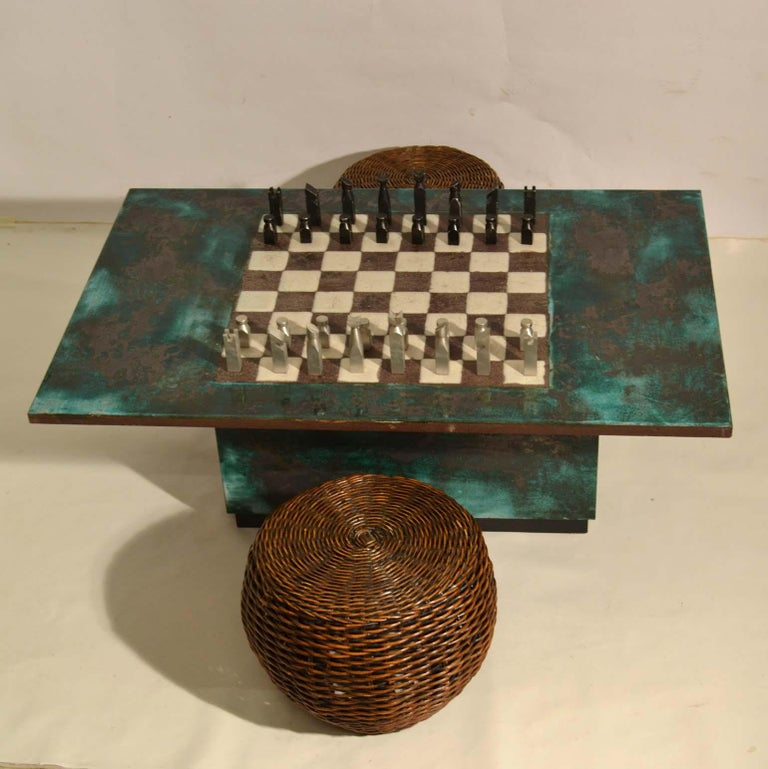 Game Table with Chessboard Hand Sculpted in Ceramic For Sale 2