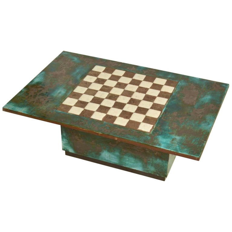 Game Table with Chessboard Hand Sculpted in Ceramic For Sale