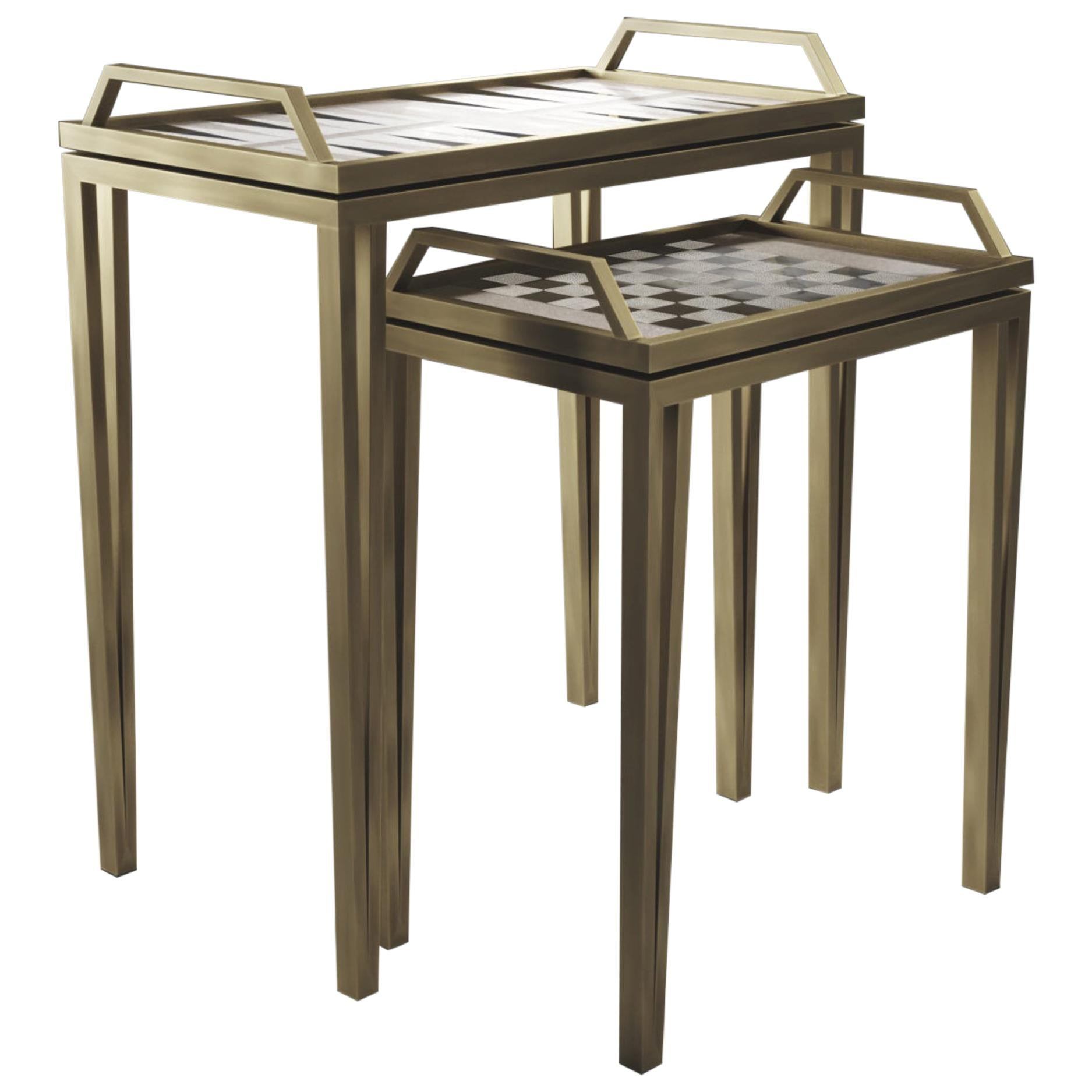 Game Tables in Cream Shagreen, Black Shell & Bronze-Patina Brass by R&Y Augousti