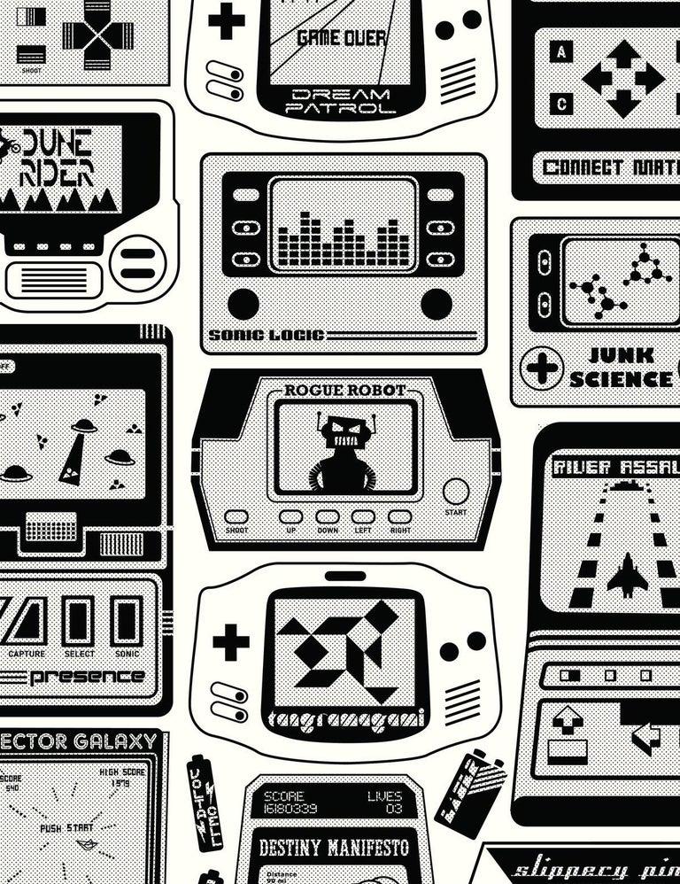 Modern Gameland Designer Wallpaper in Charcoal 'Black and White' For Sale