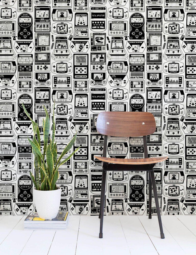 American Gameland Designer Wallpaper in Charcoal 'Black and White' For Sale
