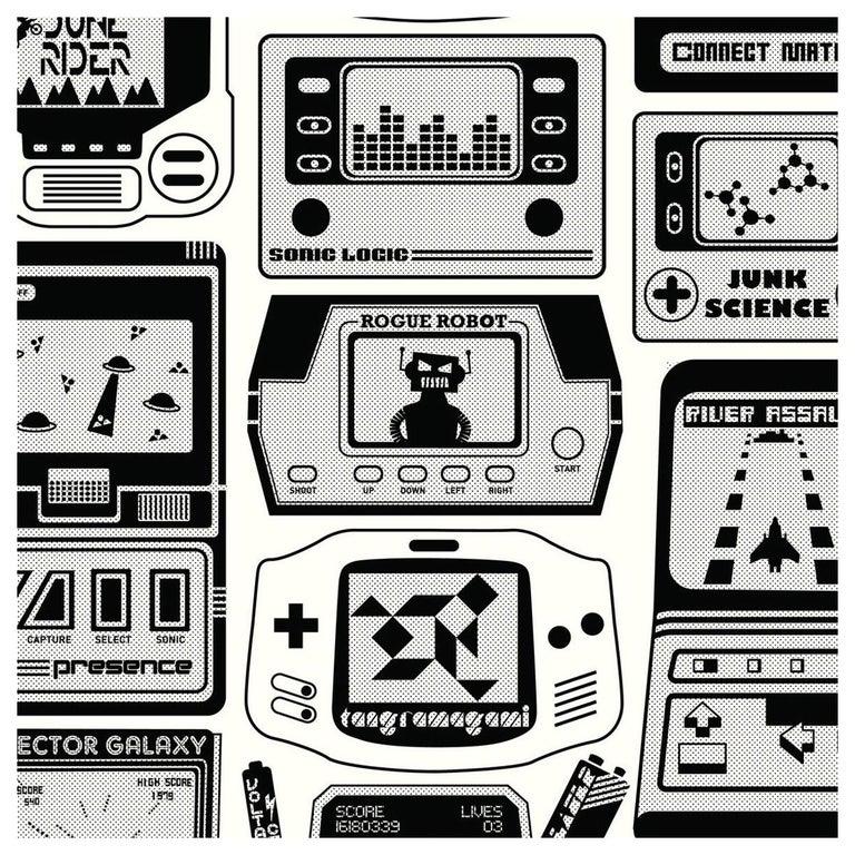Gameland Designer Wallpaper in Charcoal 'Black and White' For Sale