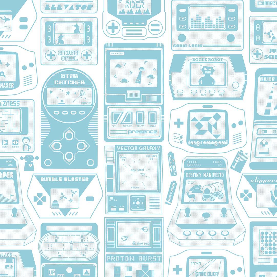 Gameland Designer Wallpaper in Aquatic 'Aqua Blue and Soft White'