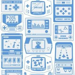 Gameland Screen Printed Wallpaper in Color Cielo 'Steel Blue on Cream'