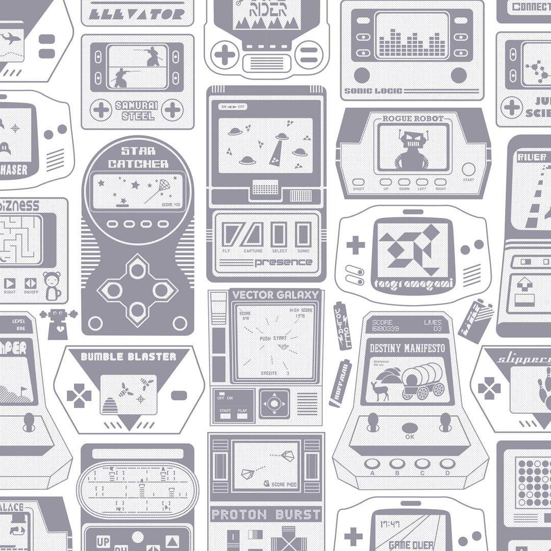 Gameland Designer Wallpaper in Slate 'Purpleish-Grey on Soft White