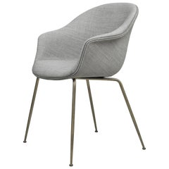 GamFratesi 'Bat' Dining Chair in Grey with Antique Brass Conic Base