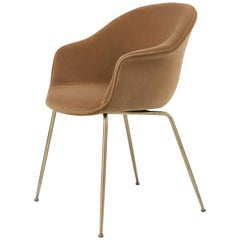 GamFratesi 'Bat' Dining Chair in Light Brown with Semi Matt Brass Conic Base