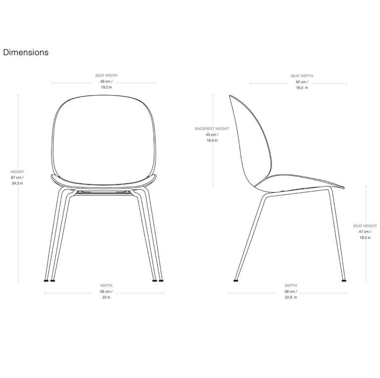GamFratesi 'Beetle' dining chair with black conic base. Designed by Danish-Italian design-duo GamFratesi in 2013. The Beetle chair's durable outer shell is a continuous curved form reminiscent of the strong and graceful contours of the insect that