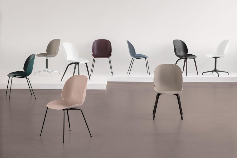 Lacquered GamFratesi 'Beetle' Dining Chair with Black Conic Base For Sale