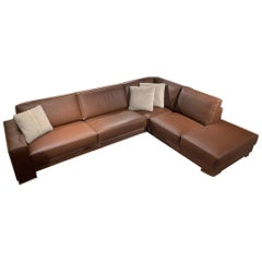 Gamma Arredamenti Italian Modern Bond Leather Sectional in Cognac Color