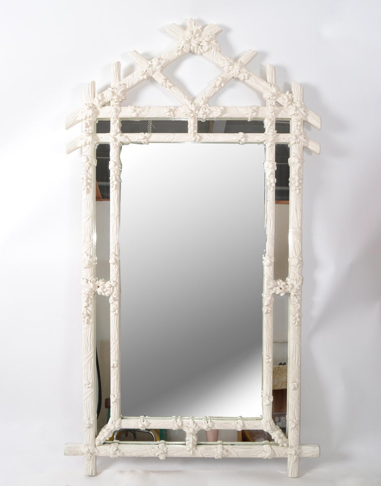 Gampel Stoll 1970 Faux Bois Hand Carved Wood Wall Mirror Hollywood Regency Italy For Sale 5
