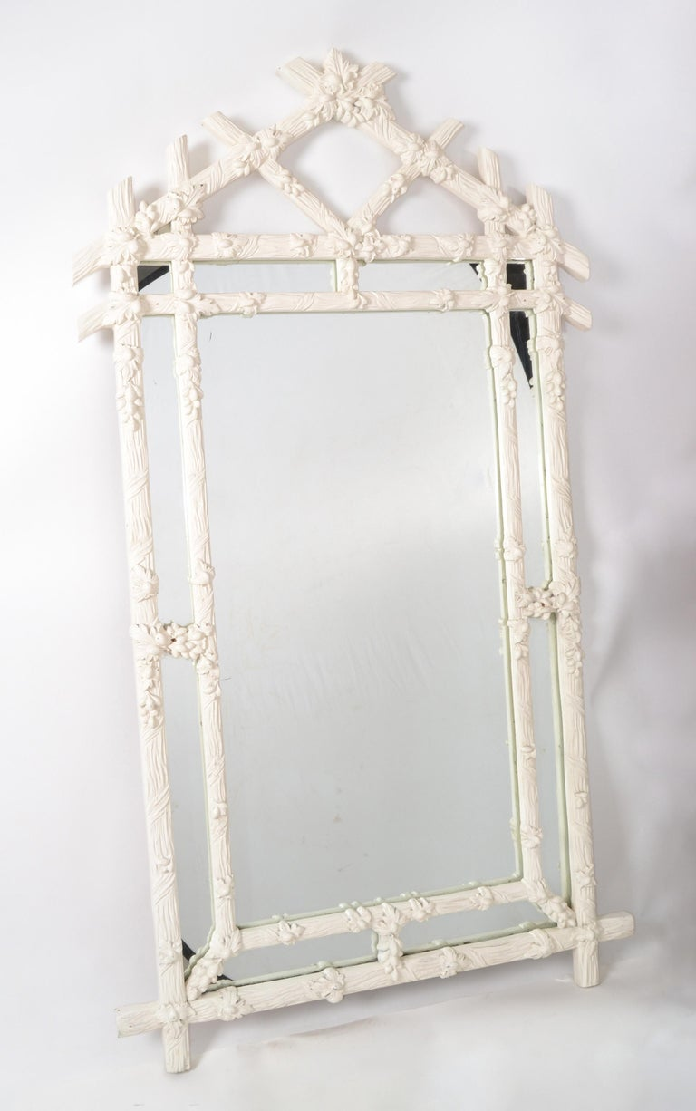 Italian Gampel Stoll 1970 Faux Bois Hand Carved Wood Wall Mirror Hollywood Regency Italy For Sale