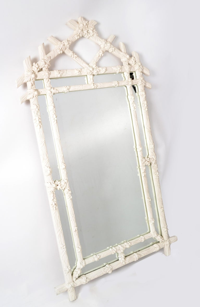 Hand-Carved Gampel Stoll 1970 Faux Bois Hand Carved Wood Wall Mirror Hollywood Regency Italy For Sale