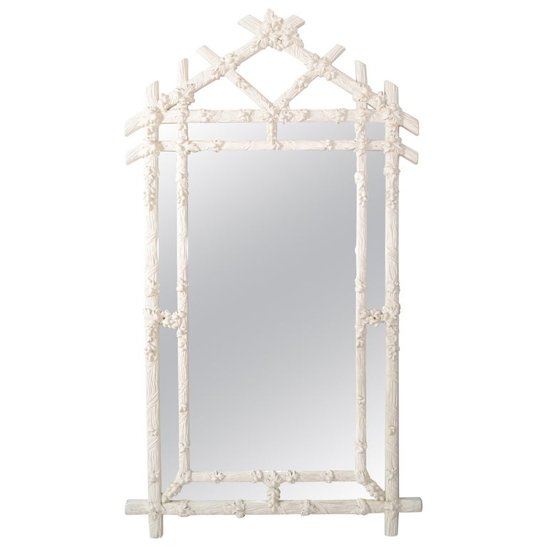 Gampel Stoll 1970 Faux Bois Hand Carved Wood Wall Mirror Hollywood Regency Italy For Sale
