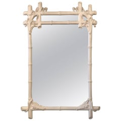 Gampel & Stoll White Lacquered Wall Mirror Faux Bamboo