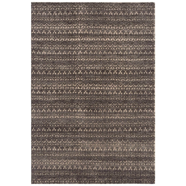 GAN Cirus Rug in Hand Knotted Gray and Brown Wool For Sale