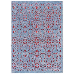 GAN Damasco Rug in Hand Knotted Blue and Red Wool