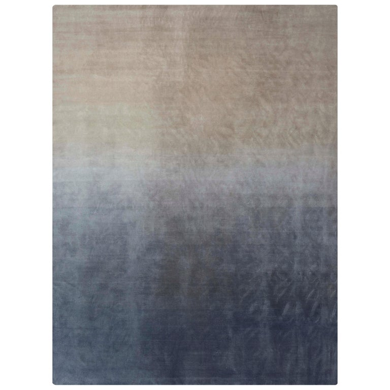For Sale: Gray (Beige Gray) GAN Hand Knotted Degrade Large Rug by Patricia Urquiola
